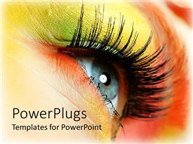 PowerPoint template displaying close-up depiction of woman eye wearing colorful makeup in yellow, green and orange tones