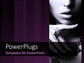 PowerPlugs: PowerPoint template with close-up of fashionable woman with necklace and ring on index finger