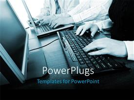 PowerPlugs: PowerPoint template with close-up of hand operating computer keyboard with monitor on desk