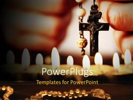PowerPlugs: PowerPoint template with close-up of hands with rosary sending a prayer to God with black color