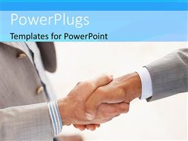 PowerPlugs: PowerPoint template with close-up of handshake between two men on white background