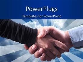 PowerPlugs: PowerPoint template with close-up of handshake over blue cloudy sky overhead
