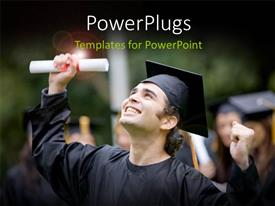 PowerPlugs: PowerPoint template with close-up of happy graduant with diploma and graduation cap