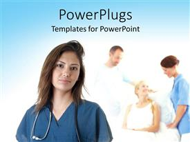 PowerPlugs: PowerPoint template with close-up of Hispanic nurse with medical personnel's attending to patient