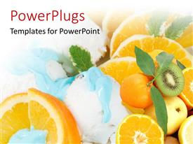PowerPlugs: PowerPoint template with close-up of ice cream on sliced orange fruit