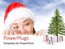 PowerPlugs: PowerPoint template with close-up of lady with Santa cap with gift boxes and christmas tree