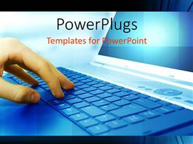 PowerPlugs: PowerPoint template with close-up of human hand operating computer keyboard