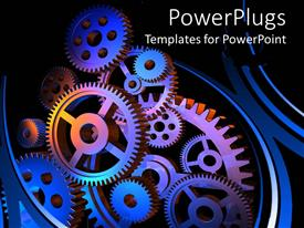 PowerPlugs: PowerPoint template with close-up of multiple colored engineering gears connected together