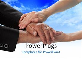 PowerPlugs: PowerPoint template with close-up of people with hands on each other