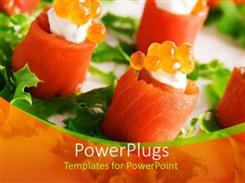 PowerPoint template displaying close-up of salmon rolls with red caviar
