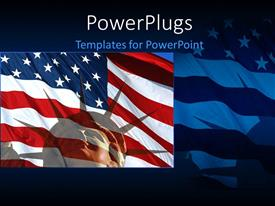 PowerPoint template displaying close-up of Statue of liberty over American flag