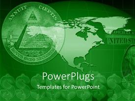 PowerPlugs: PowerPoint template with close-up of symbol on United states currency with dollar signs