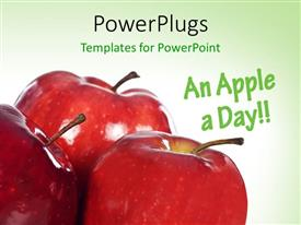 PowerPlugs: PowerPoint template with close-up of three red apples on green surface