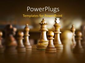 PowerPlugs: PowerPoint template with close-up of wooden queen and king chess piece on chess board
