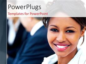PowerPlugs: PowerPoint template with close-up of young African American woman over blur of people in background