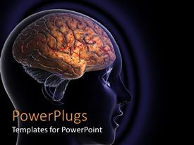 PowerPlugs: PowerPoint template with close p of human head showing human brain in dark blue background
