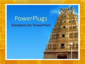 PowerPoint template displaying close up of ancient Indian temple under blue sky