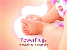 PowerPoint template displaying close up baby foot and hand