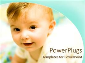 Beautiful presentation theme with close up of baby smiling, aqua wave background