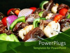 PowerPlugs: PowerPoint template with close up of barbecue sticks with meat and vegetables, green pepper slices, onion slices, meat slices, small red tomatoes on BBQ grill