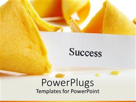 PowerPlugs: PowerPoint template with close up of broken fortune cookie with success note