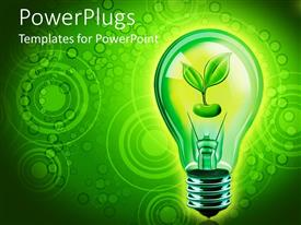 PowerPlugs: PowerPoint template with close up of bulb with green sprouting seed in green background