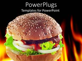 PowerPoint template displaying close up of burger with ketchup and fire in background
