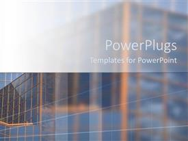 PowerPoint template displaying close up of business glass building blurred into background