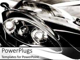 PowerPlugs: PowerPoint template with close up of car light black and white background