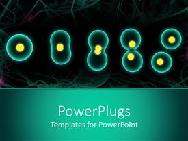 PowerPoint template displaying close up of cell division of various shapes and sizes