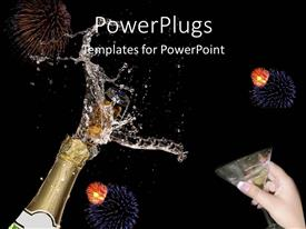 PowerPoint template displaying close up of champagne bottle just opened