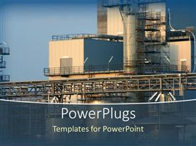 PowerPlugs: PowerPoint template with close up of chemical industry plant on blue sky background