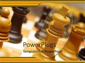 PowerPoint template displaying close up of chess table with wooden chess pieces
