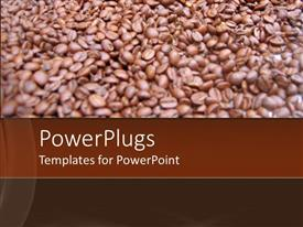 PowerPoint template displaying close up of coffee beans in blurred vision with coffee colored background