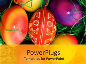 PowerPlugs: PowerPoint template with close up of colorful Easter eggs laying on green grass