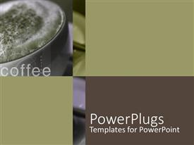 PowerPoint template displaying close up of cup of coffee with froth and cinnamon and word coffee