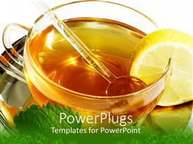 PowerPlugs: PowerPoint template with close up of cup of tea with mint lemon and honey