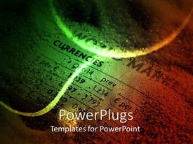 PowerPlugs: PowerPoint template with close up of dusty paper showing currencies with glittering lines and sphere on top of it