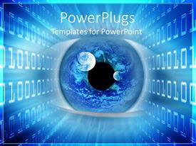 PowerPoint template displaying close up of an eye surrounded by binary code, Planet Earth depiction in an eye