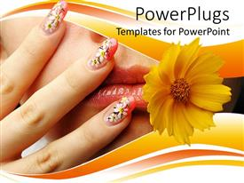 PowerPoint template displaying close up of female mouth and hand with nails, chamomile design on nails and yellow flower near woman's mouth