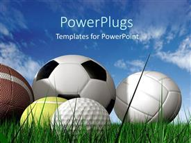 PowerPlugs: PowerPoint template with close up of five sports balls on green grass