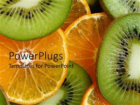 PowerPoint template displaying close up of freshly cut orange and kiwi slices