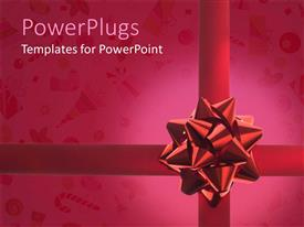 PowerPlugs: PowerPoint template with close up of giftbox with beautiful large red ribbon Christmas and party symbols on gift paper