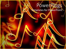 PowerPlugs: PowerPoint template with close up of golden music notes in red background