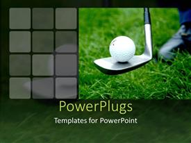 PowerPlugs: PowerPoint template with close up of golf ball on golf club on green grass