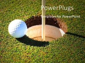 PowerPoint template displaying close up of golf ball on green grass at the rim of cup