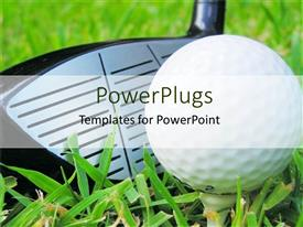 PowerPoint template displaying close up golf club and tee