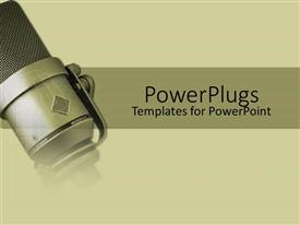 PowerPlugs: PowerPoint template with close up of gray metallic microphone in gray background