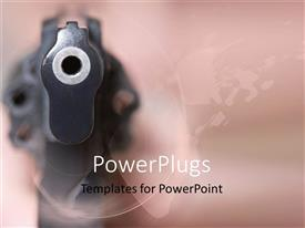 PowerPoint template displaying close up gun revolver pointing at you pink background