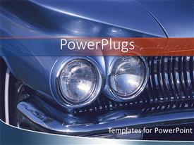 PowerPlugs: PowerPoint template with close up of the Headlights of blue classic car